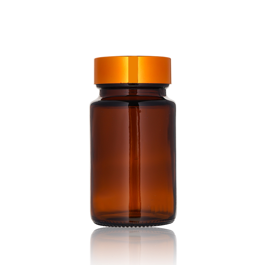 Amber Vitamin Glass Medicine Container